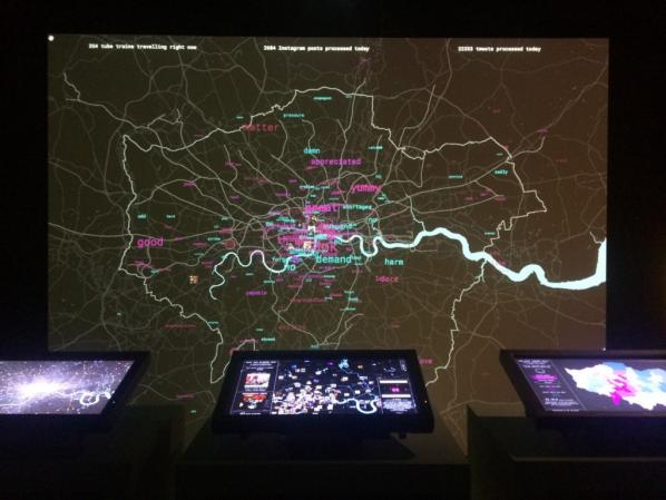 Tekja's installation in the London Situation Room shows a live feed of Tweets,  Instagram posts and TfL data from London.