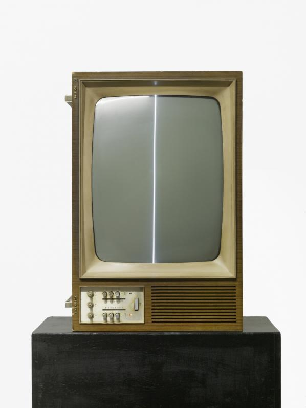 """Nam June Paik, """"Zen for TV,"""" 1963/1982, manipulated television set; black and white, silent, Collection of Marcel Odenbach, Copyright Nam June Paik Estate. (Lothar Schnepf)"""