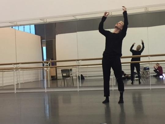 Rambert dancer in studio