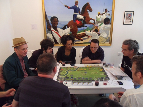 The Game of War played by Class Wargames  as part of Invisible Forces exhibition at Furtherfield Gallery in 2012