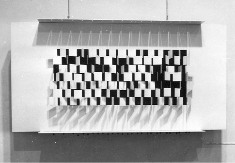 First New Tendencies exhibition, 1961. Exhibition view: b 256 and b 36 by Paul Talman (1961; floor and wall); Julio Le Parc, Probabilité Du Noir Égal Au Blanc N° 4 (Probability of Black Being Equal to White No. 4) (1961), wall, right side. Courtesy Museum of Contemporary Art, Zagreb; copyright © Bildrecht.