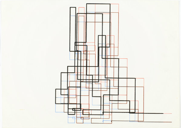 Frieder Nake, Achsenparalleler Polygonzug, 25/2/65 Nr. 14 (Rectangular Random Polygon 25/2/65 No. 14) (1965): computer-generated drawing, ink on paper, 22.4 × 31.1 cm. Courtesy the artist and Museum of Contemporary Art, Zagreb