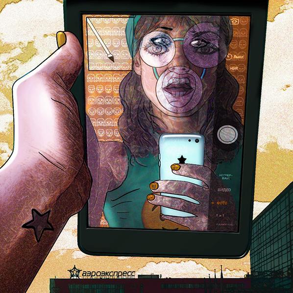 Carla Gannis, Selfie Drawing 36 Universal Translator, 2015