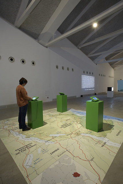 "The voice of the farmers"" installation. Monsters of the machine exhibition, at Laboral, in Spain. Image by Marcos Morilla."