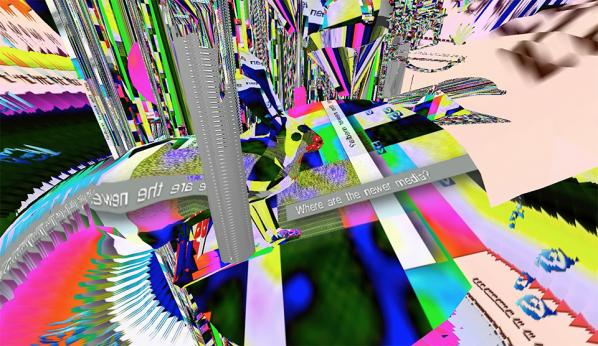 Rosa Menkman. Where are the Newer Media?, video still from virtual-reality environment, 2016.