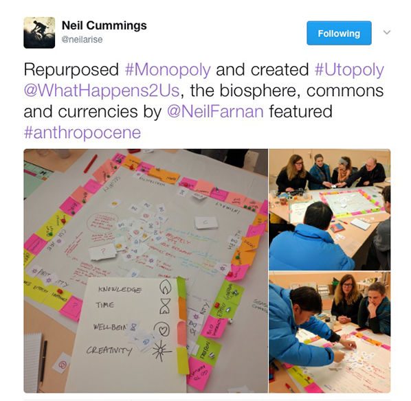 Tweet by Neil Cummings about Utopoly