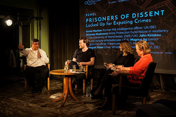 From left to right: John Kiriakou, Magnus Ag, Annie Machon, Annegret Falter