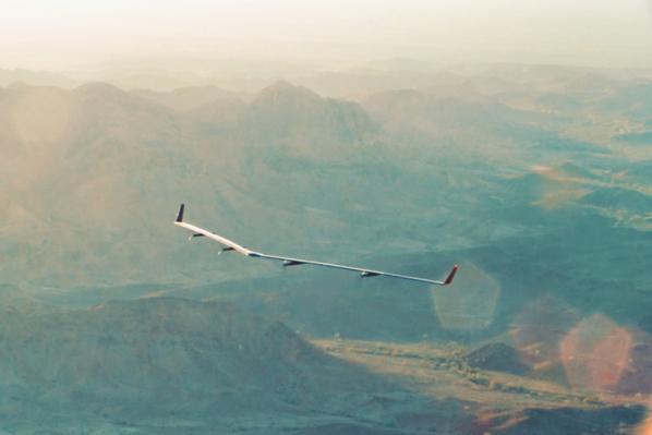 Image of Facebook's Aquila drone mid-flight.