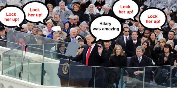 Trump saying Hilary Clinton was amazing while the crowd chant 'lock her up'