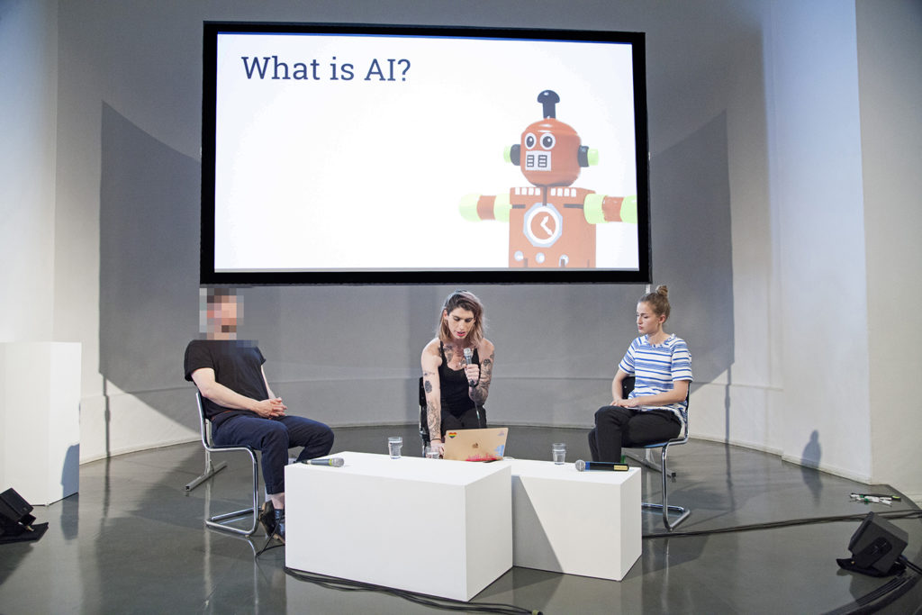 "Adam Harvey, Sophie Searcy and Adriana Groh during the panel discussion ""THE TRACKED & THE INVISIBLE: From Biometric Surveillance to Diversity in Data Science"""