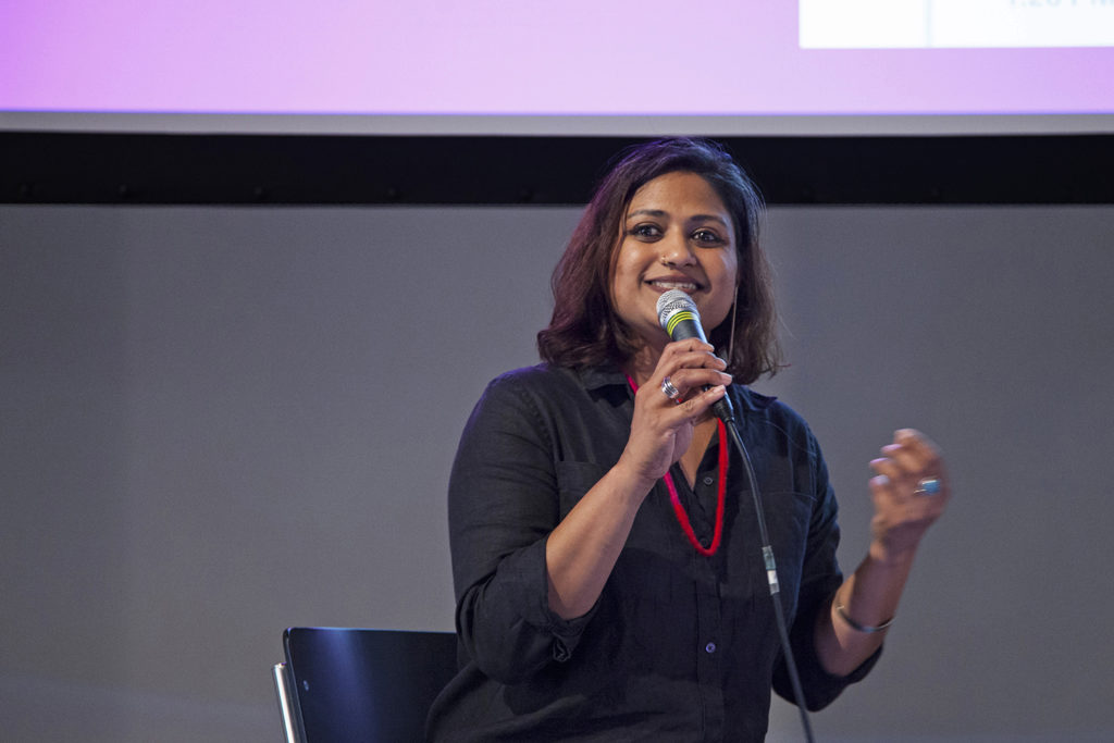 "Maya Indira Ganesh during her lecture part of ""AI FOR THE PEOPLE: AI Bias, Ethics & the Common Good"""