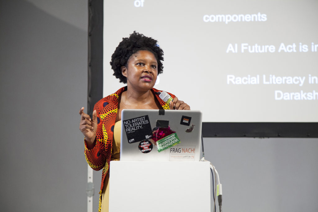 "Mutale Nkonde during her keynote ""RACIAL DISCRIMINATION IN THE AGE OF AI?"""