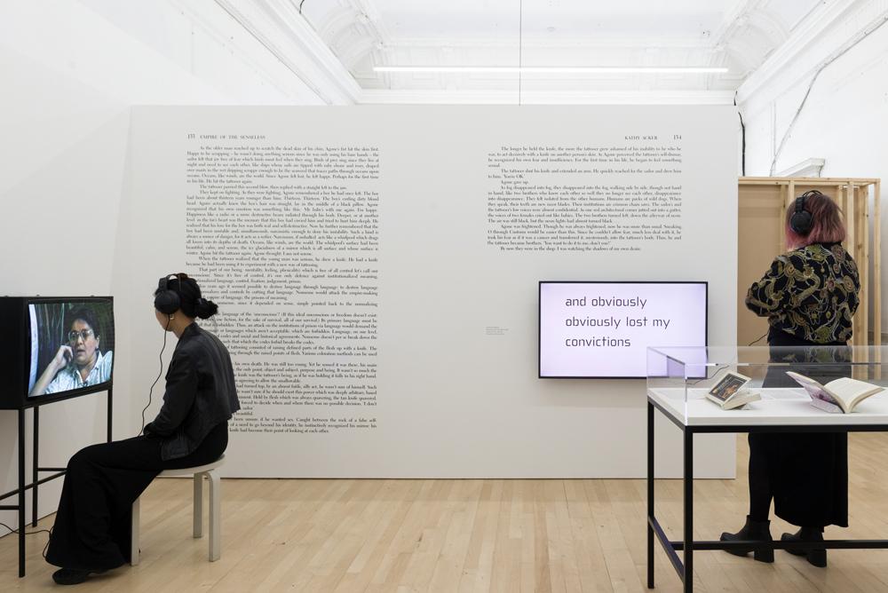 Installation view of I, I, I, I, I, I, I, Kathy Acker at ICA, London 2019. Photo: Tomas Rydin | readsreads.info
