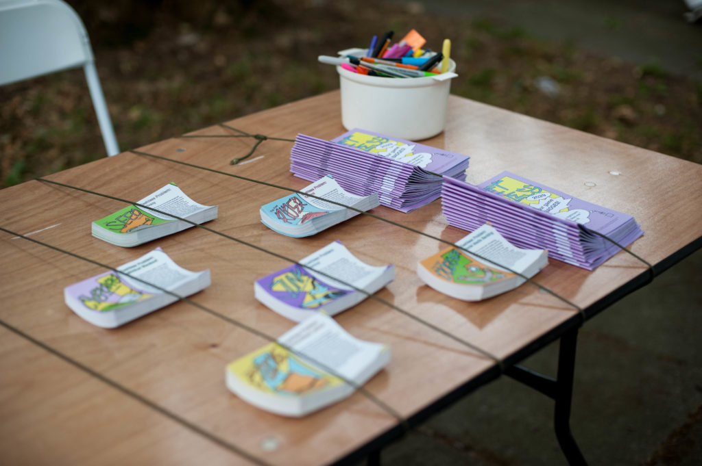 Image of the Planet Casheless 2029 table at the Furtherfield Future Fair on 10th August 2019, image credit: Julia Szalewicz