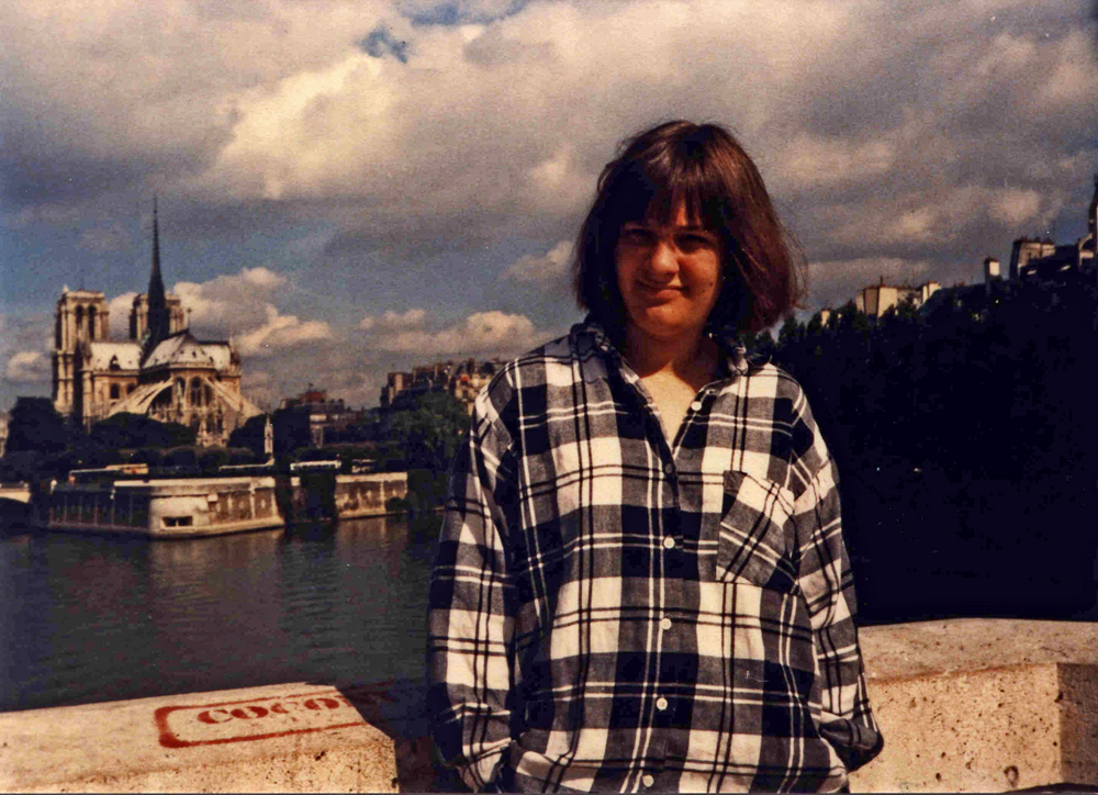 Millie at Notre Dame, 1986.  Both Millie and Notre Dame are gone.