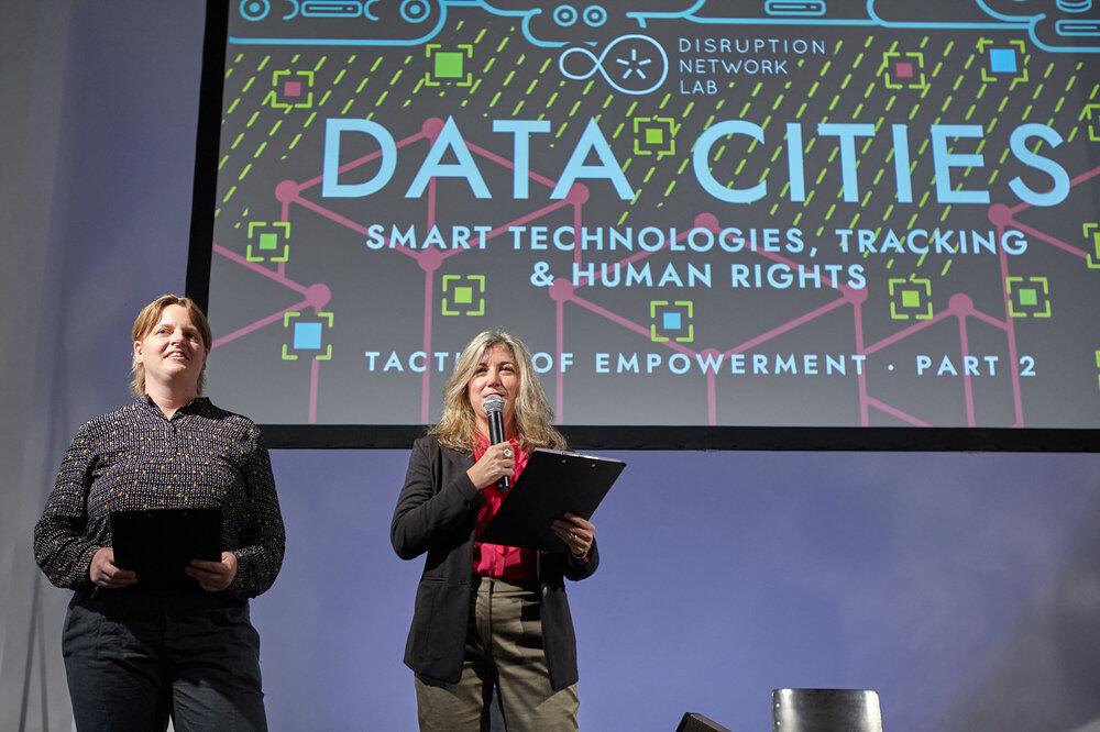 Lieke Ploeger, Community Director of the Disruption Network Lab (left), and Tatiana Bazzichelli, Founder and Programme Director of the Disruption Network Lab