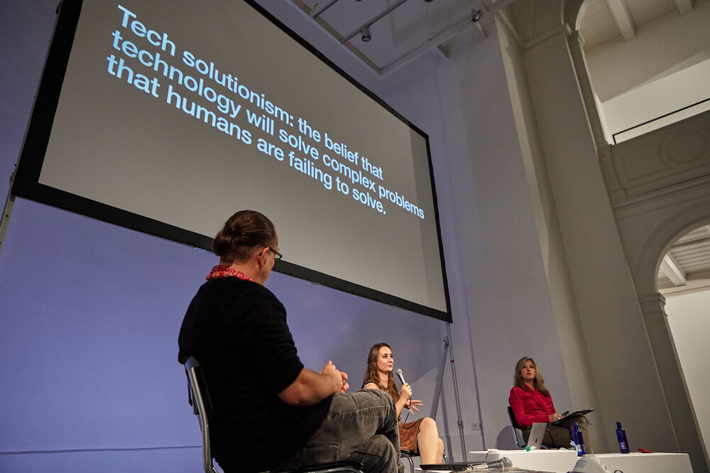 """Panel discussion """"Making Cities Smart for Us: Subverting Tracking & Surveillance"""" with Eva Blum- Dumontet, Andreas Zingerle, Linda Kronman and Tatiana Bazzichelli"""