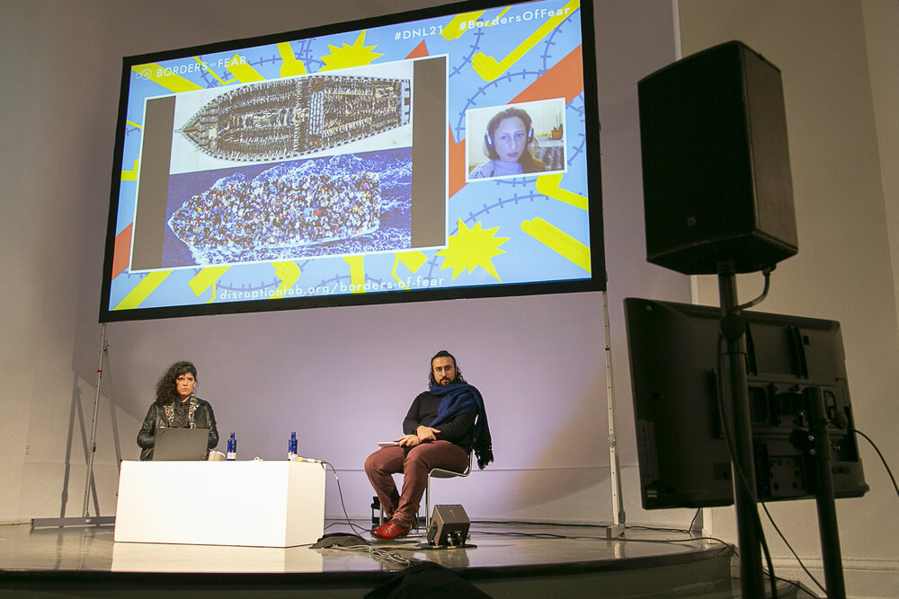 "Gaia Giuliani (video), Walid El-Houri and Joana Varon during the panel ""Politics & Technologies of Fear"""