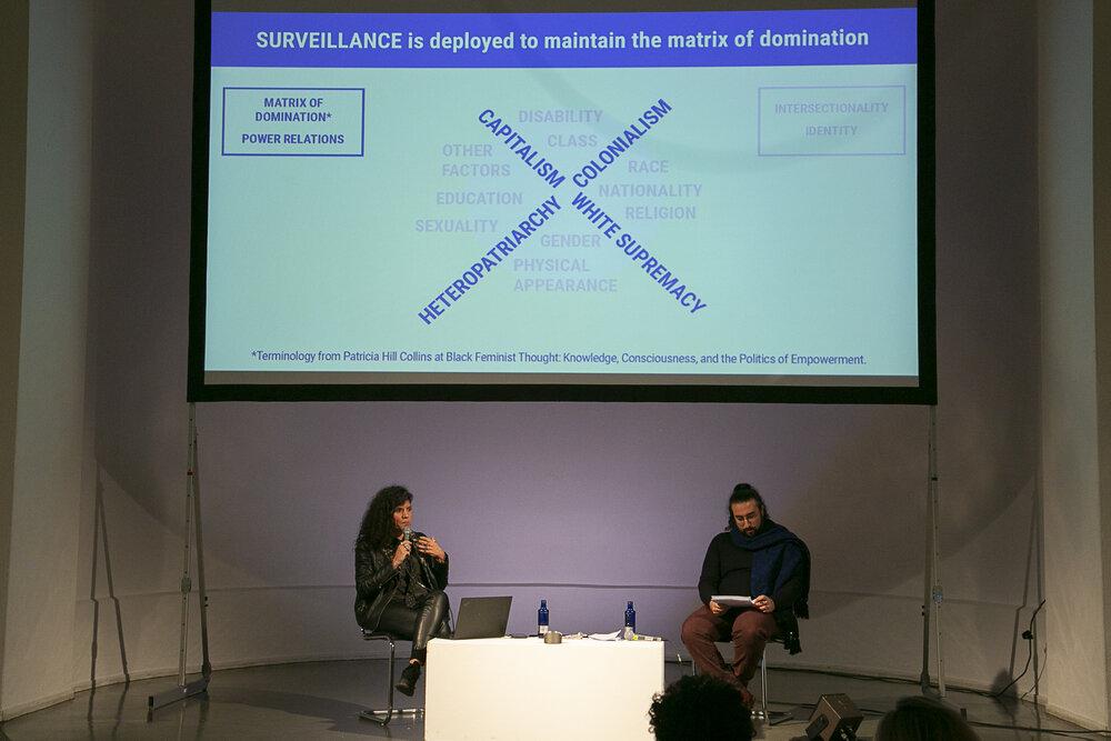 "Joana Varon and Walid El-Houri during the panel ""Politics & Technologies of Fear"""