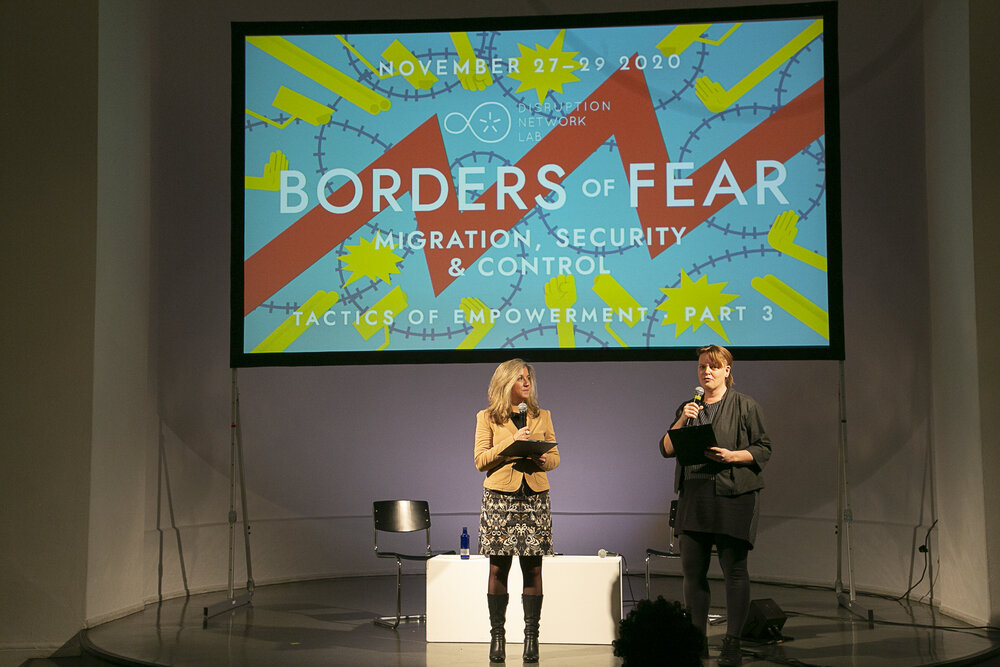 """Dr. Tatiana Bazzichelli, founder and director of the Distruption Network Lab and Lieke Ploeger, community director of the Disruption Network Lab, closing the 21st conference """"Borders of Fear"""""""