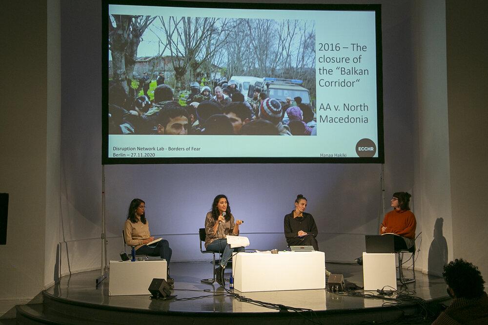 "Likhita Banerji (left), Hanaa Hakiki, Nicole Vögele and Dimitra Andritsou during the panel ""Illegal Pushbacks and Border Violence"""