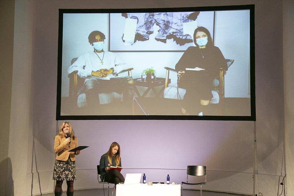 Yoseph Zemichael AfeworkiandAmbre Schulz (video), Dr. Tatiana Bazzichelli (left) and Sally Hayden