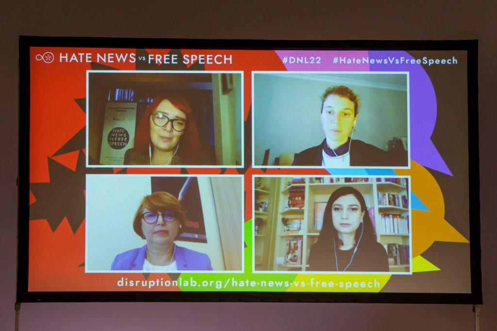 "Tamar Kintsurashvili, Nini Gvilia, Nata Dzvelishvili and Maya Talakhadze during the panel discussion ""Polarization and Media Ethics in Georgia"""