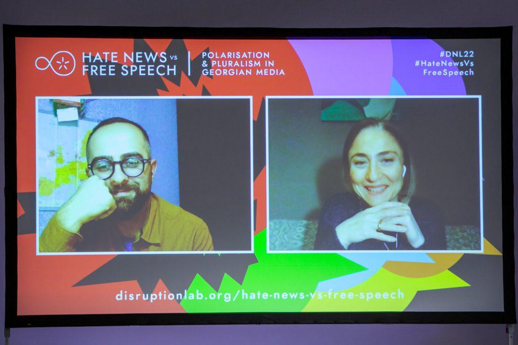 "Nino Danelia and Giorgi Tabagari during the panel discussion ""Hate Speech & Human Rights"""