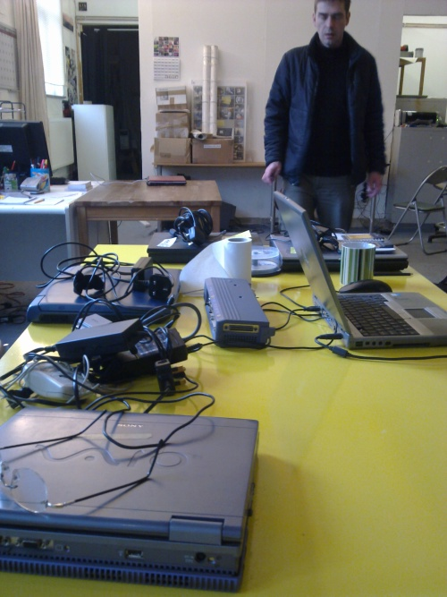 Jake preparing zero dollar laptops at Furtherfield